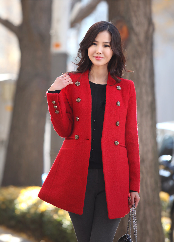 棕红色大衣搭配图片女