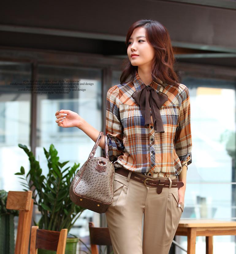 Женская хлопковая клетчатая рубашка с длинными рукавами и завязывающимся ба