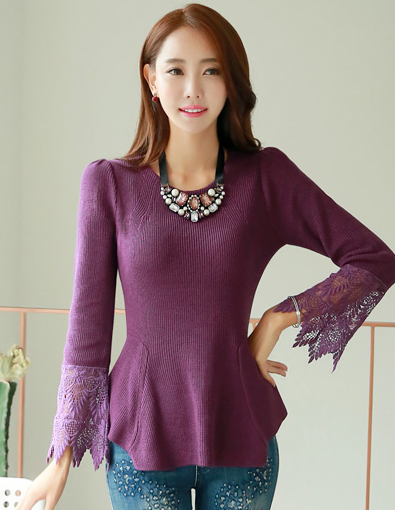 Lace Sleeve Peplumed Knit Top