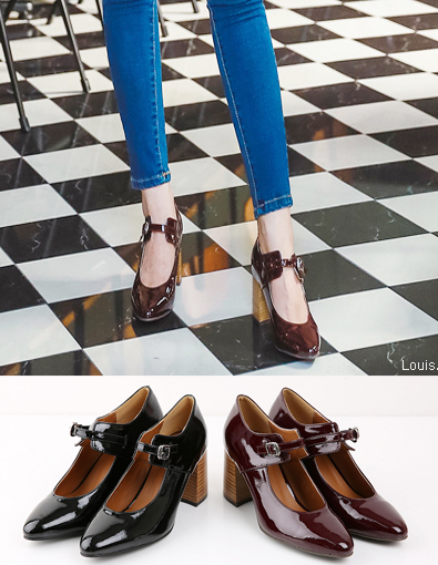 Enamel Thin Front Strap Square Heels