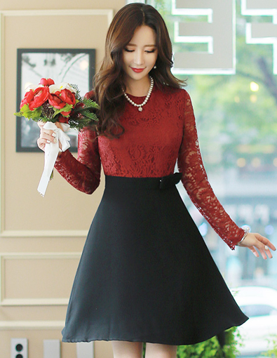 See-through Floral Lace Long Sleeve Flared Dress