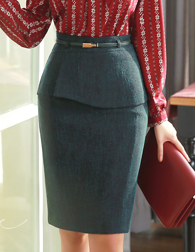 Front Flap Detail Belted Pencil Skirt, Styleonme>