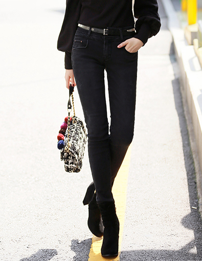 Distressed Black Skinny Jeans, Styleonme>