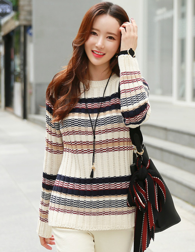 Color Stripe Ribbed Knit Tee
