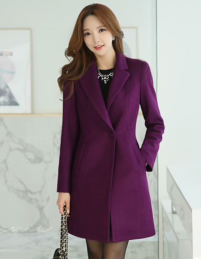 Singe Button Notched Lapel Collar Long Coat, Styleonme>