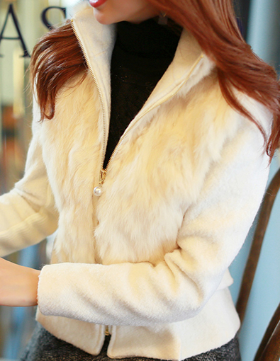 Rabbit Fur Pearl Zipper Detail Jacket
