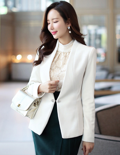 Jeweled Brooch Closure Velvet Collarless Jacket, Styleonme>