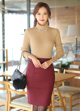 Belted Side Pocket Wool Pencil Skirt, Styleonme