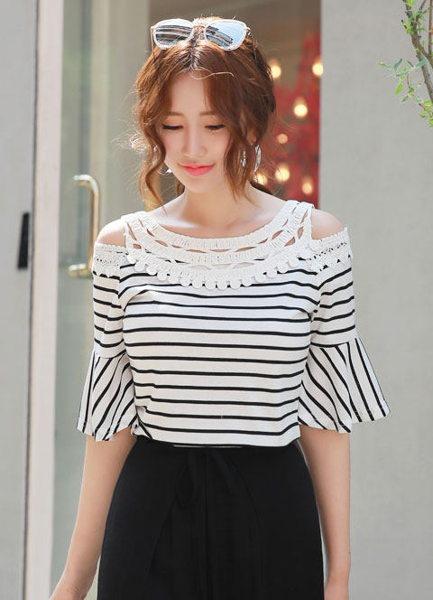 Stripe Off-Shoulder Lace Detail Shirt