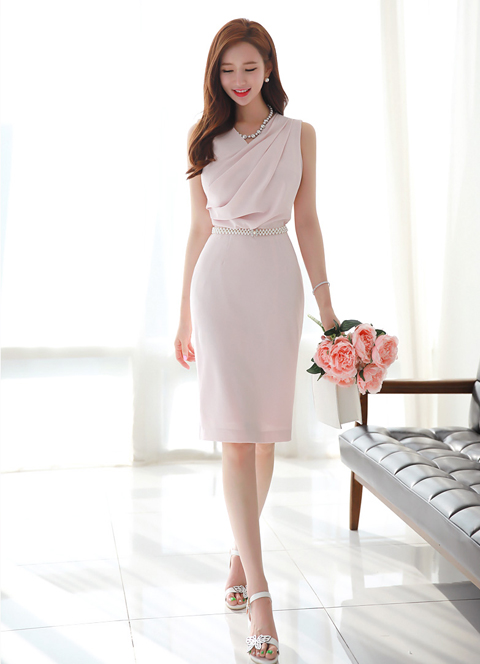 Shirred Neckline Sleeveless Dress