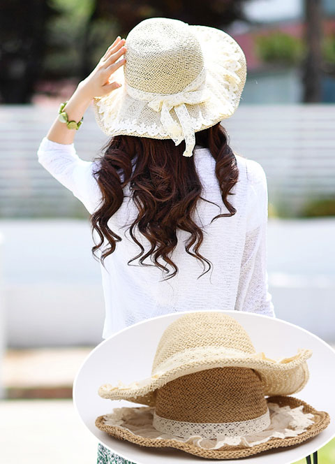 Ribbon Lace Detail Straw Hat