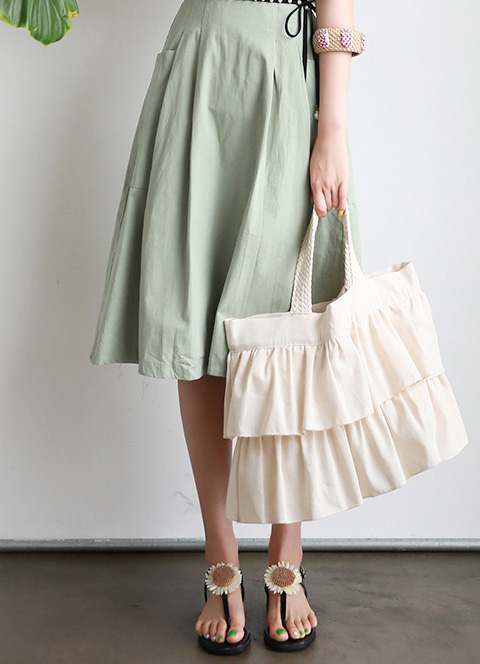 Linen Two Tier Frill Eco Bag