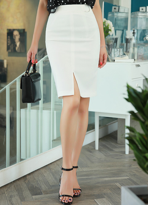Pearl Accent D-Shaped Buckle Front Slit Pencil Skirt, Styleonme>