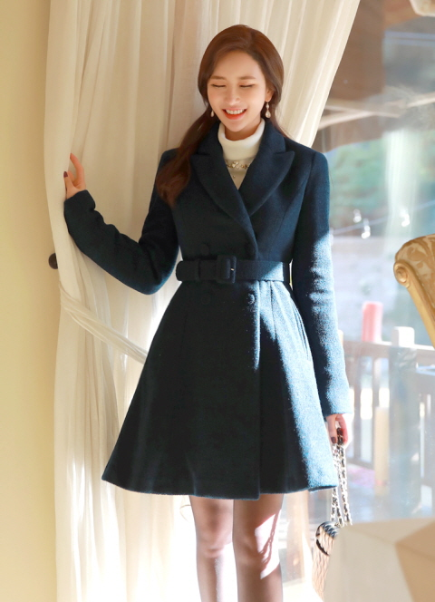 Belted Double-Breasted Wool Flared Coat, 스타일온미