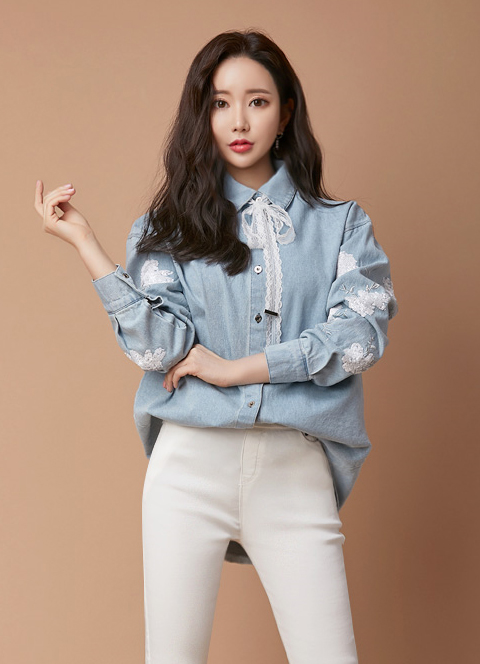 Lace Ribbon Tie Sequined Denim Collared Shirt, 스타일온미