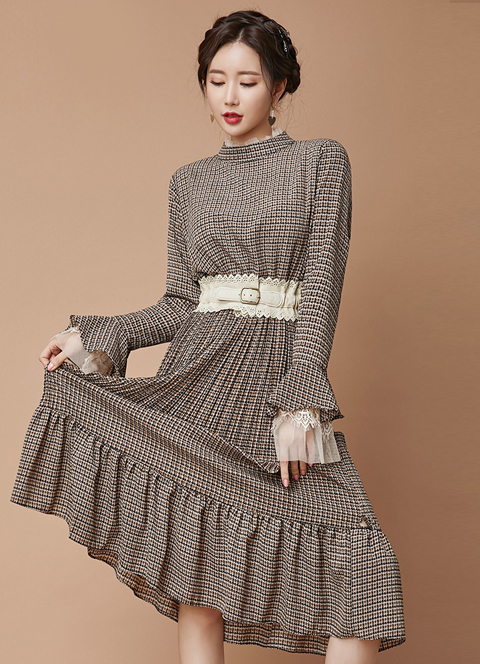 Patterned Bell Sleeve Ruffle Long Dress, 스타일온미