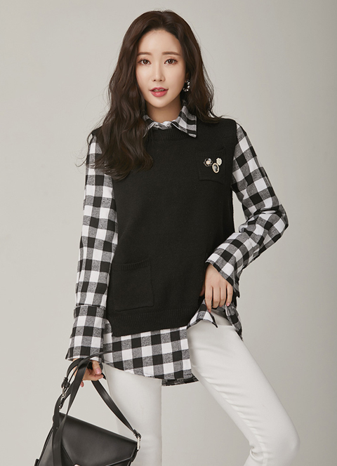 Black and White Vest Set Check Print Collared Shirt, 스타일온미