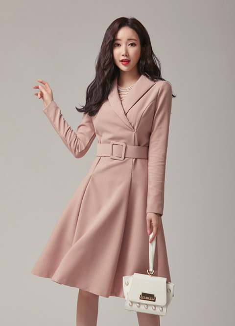 Modern Collared Belt Set Flared Dress, 스타일온미