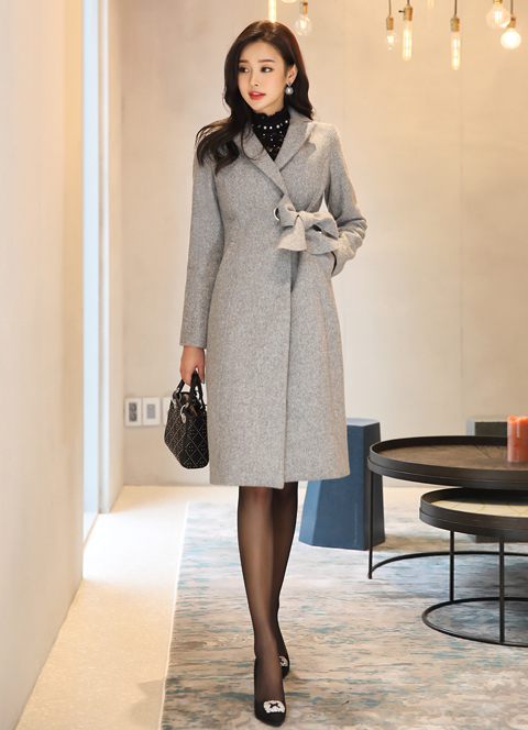 Side Ribbon Long Tailored Coat, 스타일온미