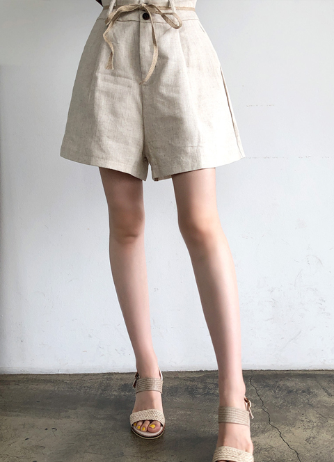 Ribbon Set Double Button Linen Shorts, 스타일온미