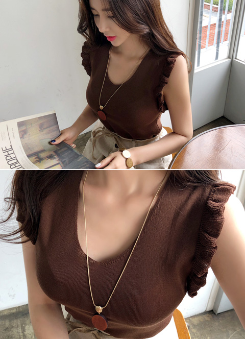 Frill Trim V-Neck Knit Top, 스타일온미