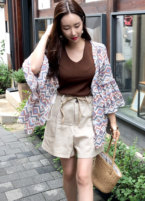 Ethnic Print Robe Blouse, 스타일온미