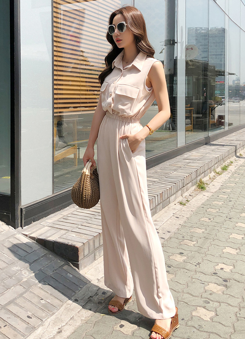 Twin Pocket Collared Jumpsuit, 스타일온미