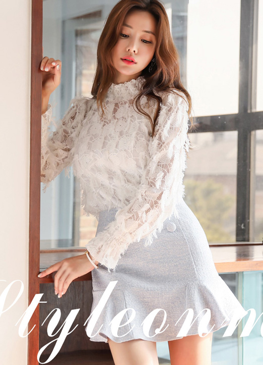 Feather See-through Lace Blouse, 스타일온미