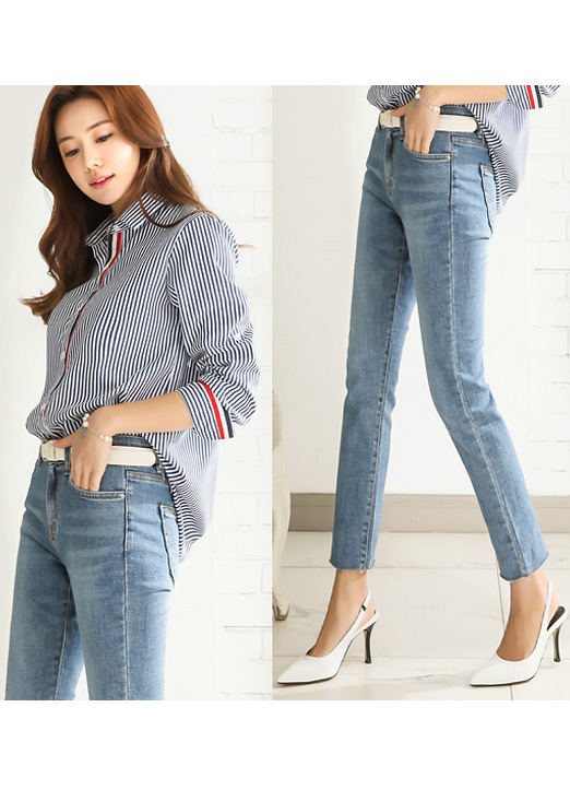 Cut Hem Light Blue Straight Leg Jeans, 스타일온미