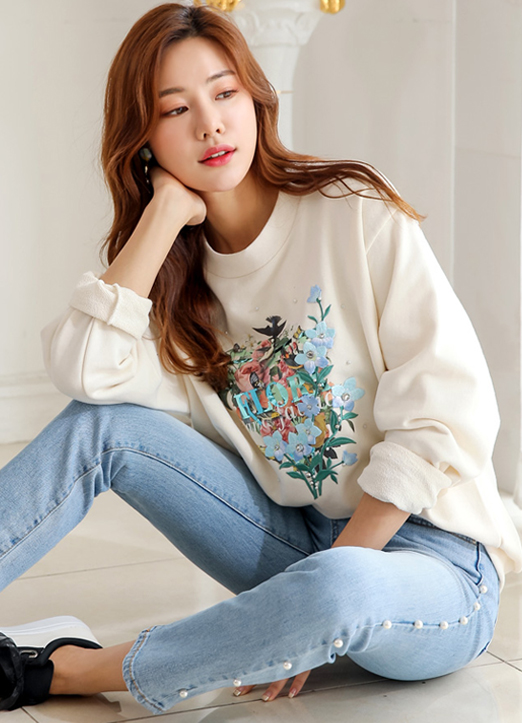 Romantic Floral Embroidered Pullover, 스타일온미