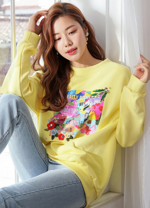Colorful Floral Print Pullover, 스타일온미