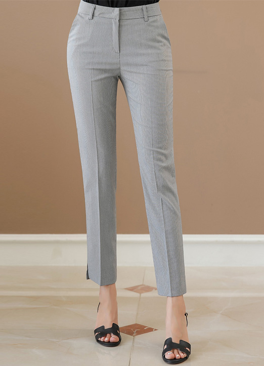 Check Print Slim Straight Leg Slacks, 스타일온미