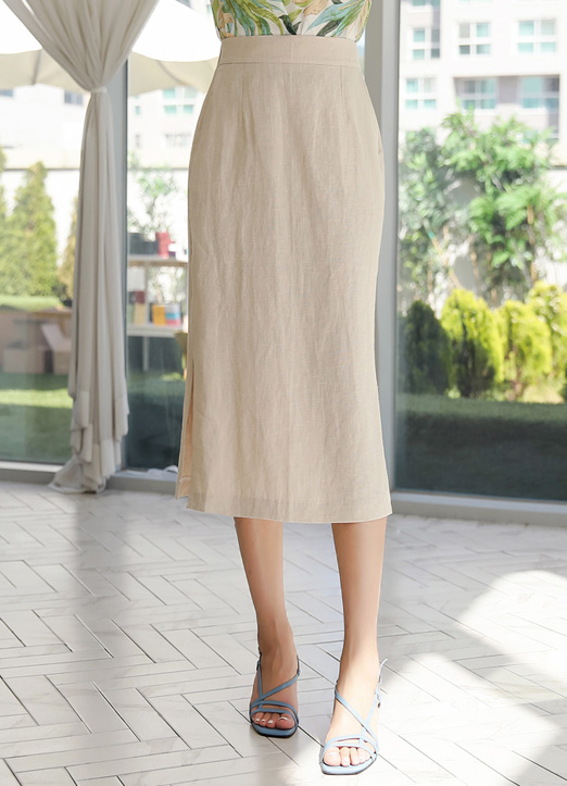 Side Slit Long Linen Skirt, 스타일온미