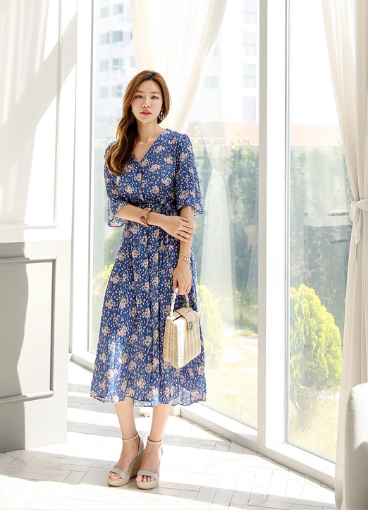 Floral Print V-Neck Long Dress, 스타일온미