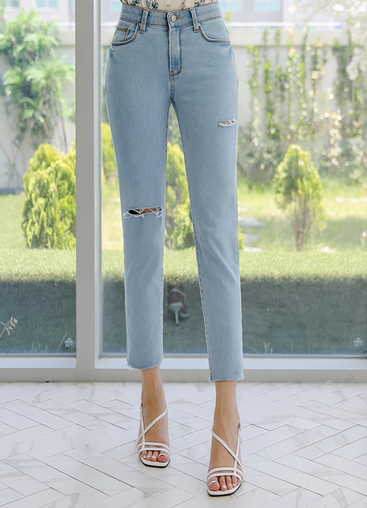Slit Detail Slim Fit Ankle-length Jeans, 스타일온미