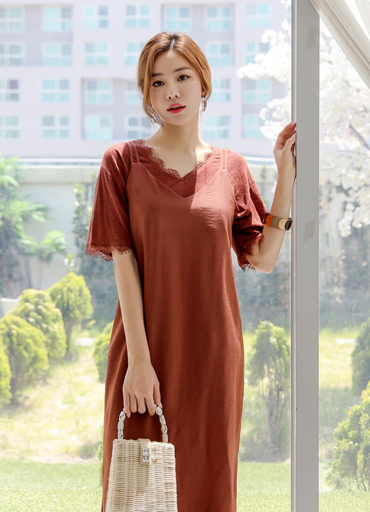 Lace Trim Linen V-Neck Tee, 스타일온미