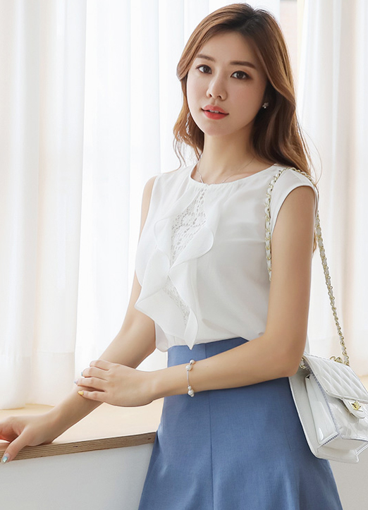 Lace Ruffle Detail Sleeveless Blouse, 스타일온미