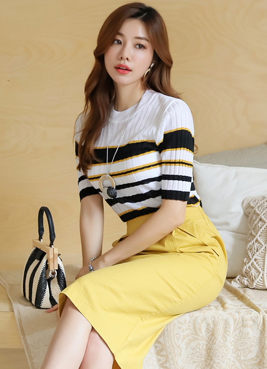 Stripe Half Sleeve Ribbed Knit Tee, 스타일온미
