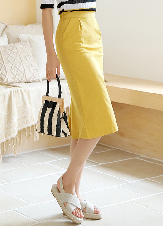 Pintuck Pocket Long H-Line Skirt, 스타일온미
