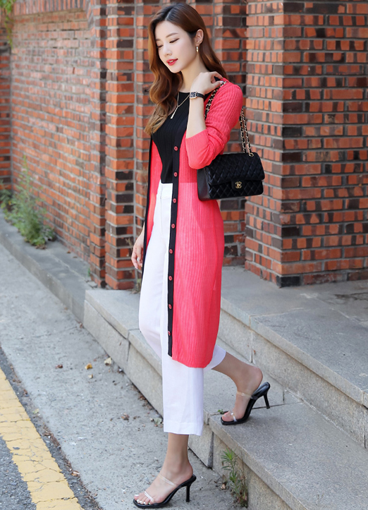 Contrast Trim Ribbed Long Cardigan, 스타일온미
