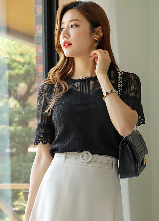 See-through Lace Blouse Tee, 스타일온미