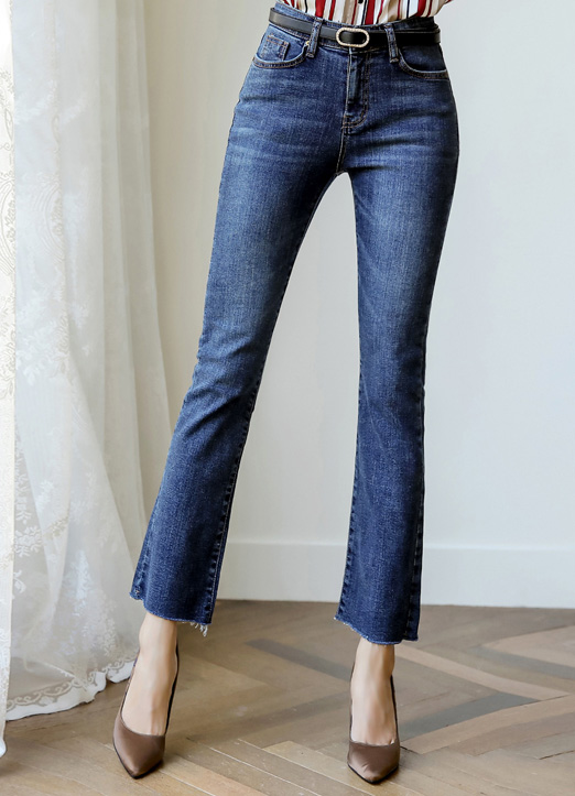 Raw Hem Semi-Boot Cut Jeans, 스타일온미