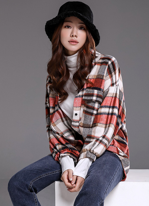 Large Check Print Collared Shirt, 스타일온미