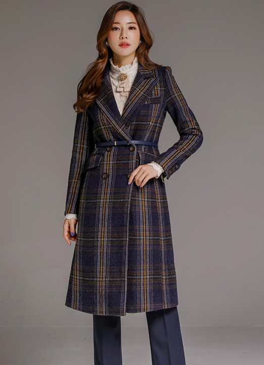Check Print Quilted Lining Tailored Long Coat, 스타일온미