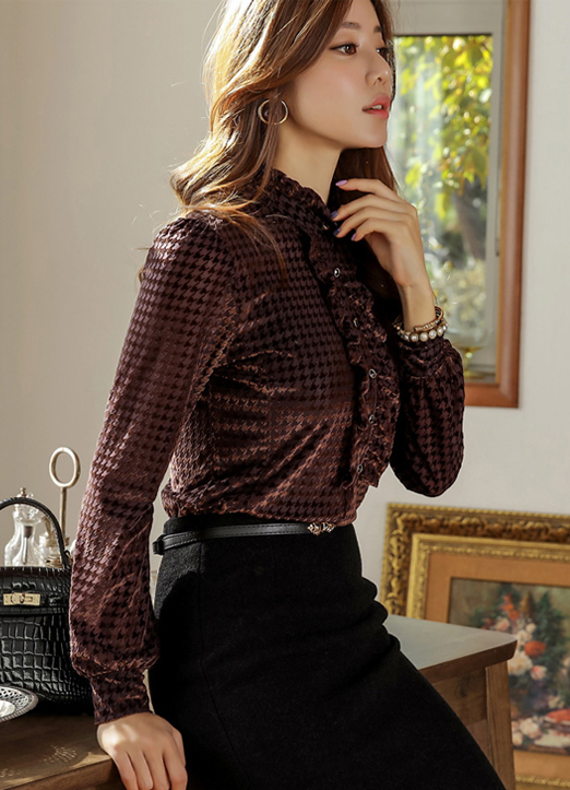 Houndstooth Check Print Velour Frill Blouse, 스타일온미