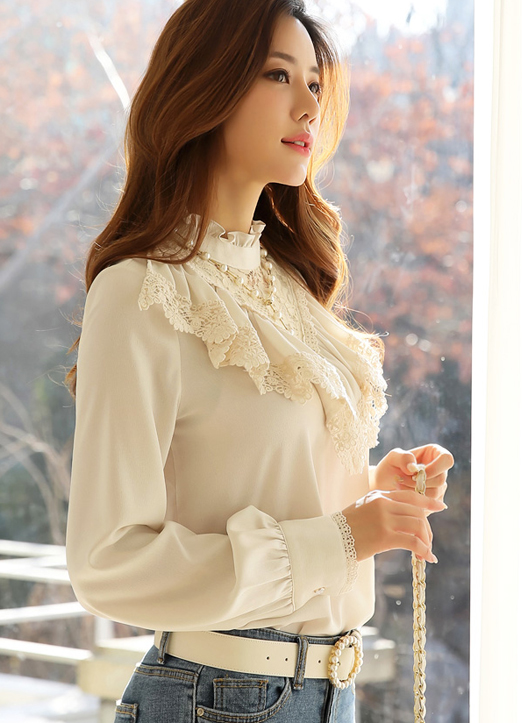 Feminine Floral Lace Frill Blouse, 스타일온미