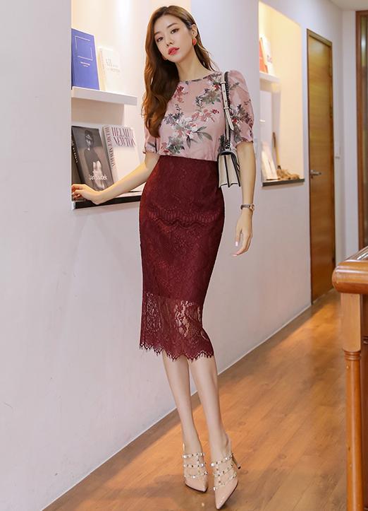 蕾絲透視H型高腰半身裙, ?????