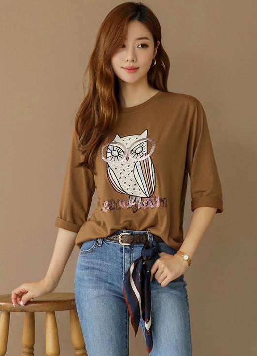 亮片刺繡混合貓頭鷹T恤, ?????