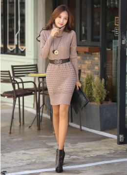 Turtleneck Knit Dress, Styleonme