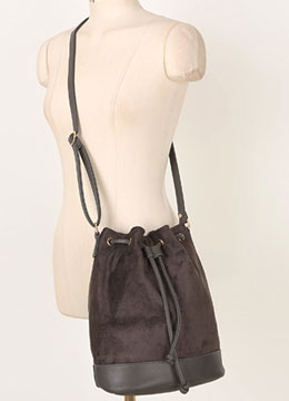 Suede Drawstring Bag, Styleonme